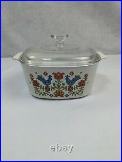 Vintage Corning Ware / Pyrex Festival Blue Bird Floral 4 piece set with lids