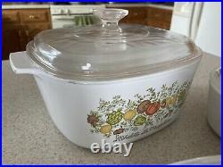 Vintage Corning Ware Spice Of Life Casserole Dish Whole Set! Rare