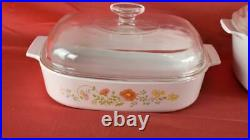 Vintage Corning Ware Wildflower 10 Piece Casserole Set & 6 Cup Teapot P-104