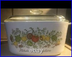 Vintage Corning ware casserole dish with glass lid 3 quart A-3-B Spice of Life