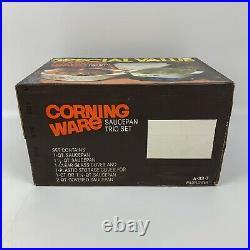Vintage CorningWare A-33-7 Wildflower 6 pcs Sealed Box Saucepan Trio Set NEW NOS