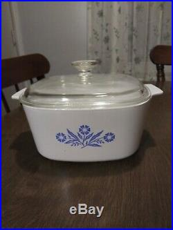 Vintage Corningware Blue Cornflower 3 Quart Casserole Dish With Pyrex Lid A-3-B
