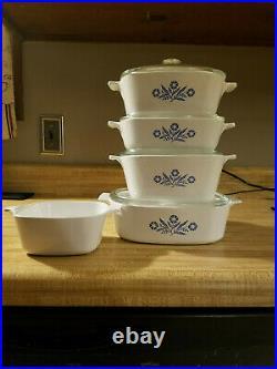 Vintage Corningware Blue Cornflower 5 Piece Casserole Set Barely Used