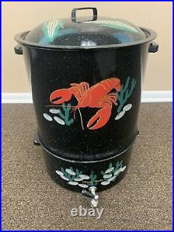 Vintage Granite Ware with Enameled Clam/Lobster/Corn Boil Pot 3 Pieces
