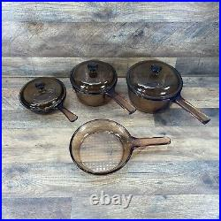 Vintage Pyrex Corning Ware Vision Amber Glass Cookware 7pc Set