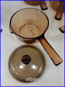 Vintage Pyrex Corning Ware Vision Amber Glass Cookware Pots 10 Piece Set Lot