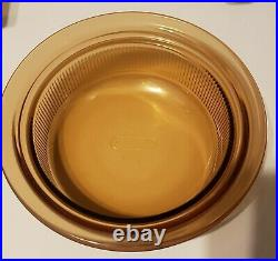 Vintage Pyrex Corning Ware Vision Amber all Glass Cookware Pots 8 Piece Set Lot
