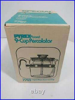 Vintage Pyrex Flameware 9 cup Percolator Coffee Pot 7759 Corningware NOS IN BOX