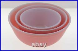 Vintage Pyrex Flamingo PINK Matte 3 Mixing Bowl Set Corning 401 / 402 / 403 Nice