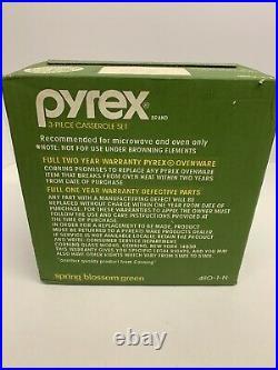 Vintage Pyrex Spring Blossom Green Corningware 3 Piece Casserole Set 480-1-N IOB