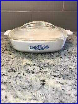 Vintage RARE 1959 Corning Ware Blue Cornflower 7 Inch Skillet with Fin Lid