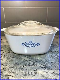 Vintage RARE 1960 Corning Ware Blue Cornflower 2 1/2 QT with Fin Lid