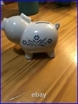 Vintage RARE 1980s Corning Ware Cornflower Blue Piggy Bank Pig Without Stopper