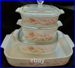 Vintage Rare Corning Ware Peach Floral Set Of 4 Casserole Dishes