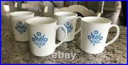 Vintage Set of 4 Corning Ware Blue Cornflower Mug Cup Glass Corn Flower Corelle