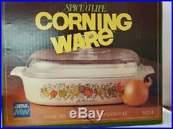 Vintage Spice O Life L' Echalote Corning Ware 2.5 Lt Pyrex Lid Original Box RARE