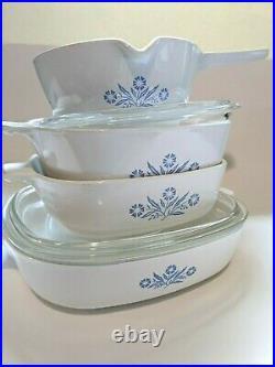 Vintage USA CORNING WARE BLUE CORNFLOWER 6 pc lot Casserole Saucepan