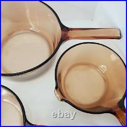 Vintage Vision Corning Ware 10-Piece Amber Glass Cookware Pots Pans Skillet Lids