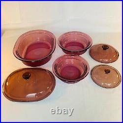Vintage Vision CorningWare 13-Pc Cranberry Glass Cookware Pots Pans Skillet Lids