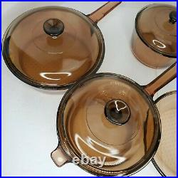 Vintage Visions Corning Ware Amber Glass 9 Piece Cookware Set Skillet Lids USA