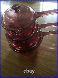 Vintage Visions Corning Ware Cranberry 6 piece Sauce Pan Set Pyrex