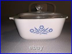 Vintage corning ware blue cornflower 1.5 Qt Casserole Dish With Lid