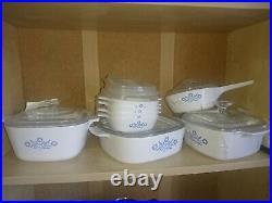 Vintage corning ware blue cornflower set (includes petite pans)