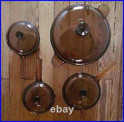 Vision Ware Vintage Corning Pyrex Amber Glass Cookware 11 Pc Set USA & FRANCE