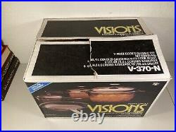 Vision Ware Vintage Corning Pyrex Amber Glass Cookware 7 Pc Set V-370-N Open Box
