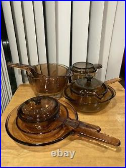 Vision Ware Vintage Corning Pyrex Amber Glass Cookware 8 piece Lot