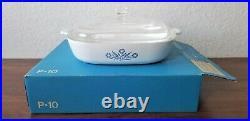 Vtg 1960s Corning Ware Blue Cornflower P-10-B Casserole 2-Piece Set New WithBox