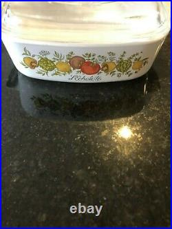 Vtg Corning Ware Casserole Dish With Lid 1 Qt Spice Of Life L'Echalote A-1-B