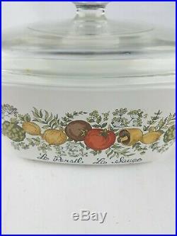 Vtg Corning Ware Spice of Life 1-1/2 qt Casserole Pyrex Lid Le Persil La Sauge