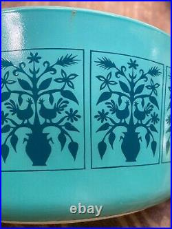 Vtg Pyrex Glass Saxony Tree of Life Casserole Dish 475-B Turquoise Aqua Blue